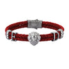 Statements Leo Leather Bracelet - Gunmetal - Dark Red Leather