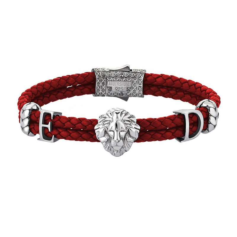 Statements Leo Leather Bracelet - Red Leather - Oxidised Silver