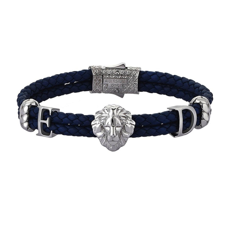 Women's Statements Leo Leather Bracelet - Gunmetal - Navy Leather