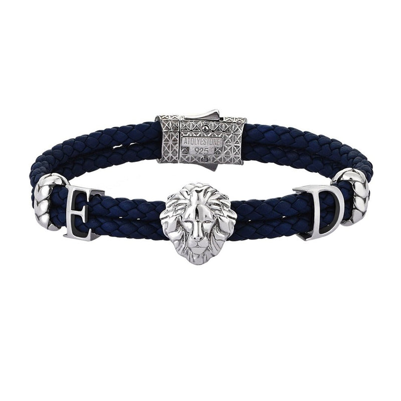 Women's Statements Leo Leather Bracelet - Oxidized Silver - Navy Leather