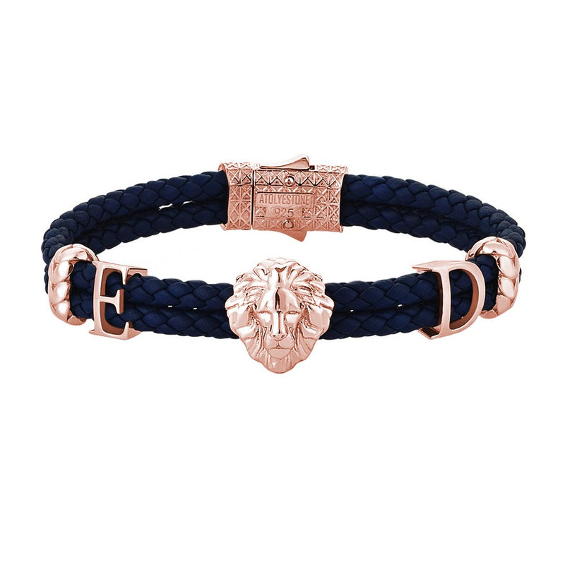 Women's Statements Leo Leather Bracelet - Rose Gold - Navy Leather