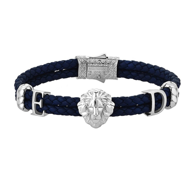 Women's Statements Leo Leather Bracelet - Silver - Navy Leather