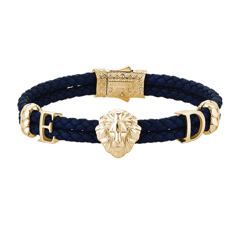 Women's Statements Leo Leather Bracelet - Yellow Gold - Navy Leather