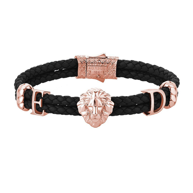 Statements Leo Leather Bracelet - Solid Gold - Black Leather