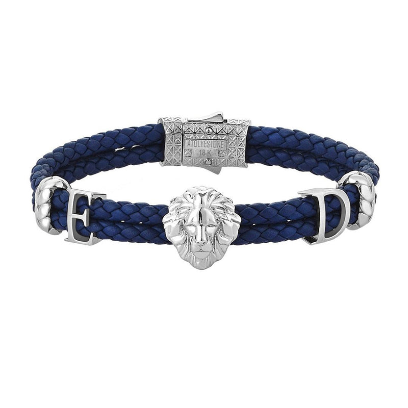 Statements Leo Leather Bracelet - 14k Solid Gold - Blue Leather