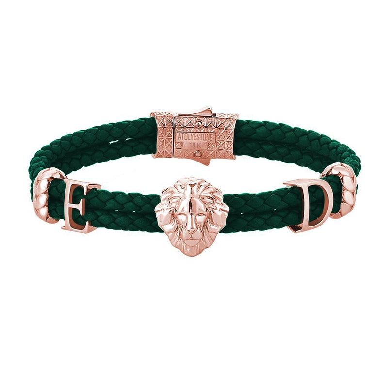 Statements Leo Leather Bracelet - Solid Rose Gold - Dark Green Leather
