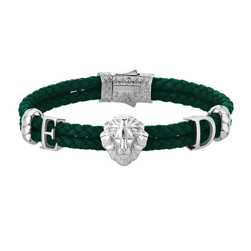 Statements Leo Leather Bracelet - Solid Gold - Dark Green Leather