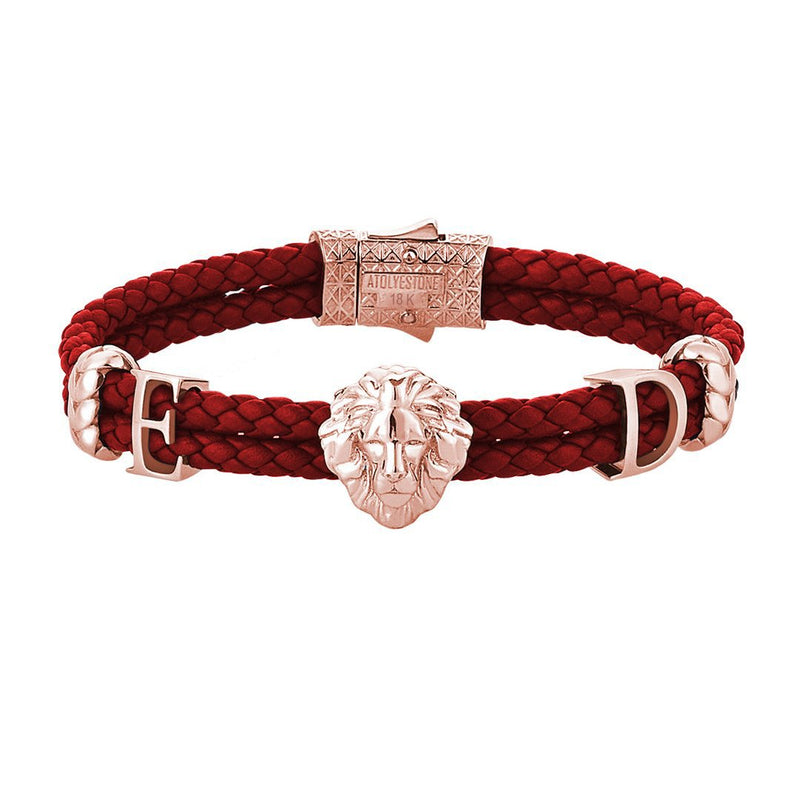 Statements Leo Leather Bracelet - 18k Solid Rose Gold - Dark Red Leather