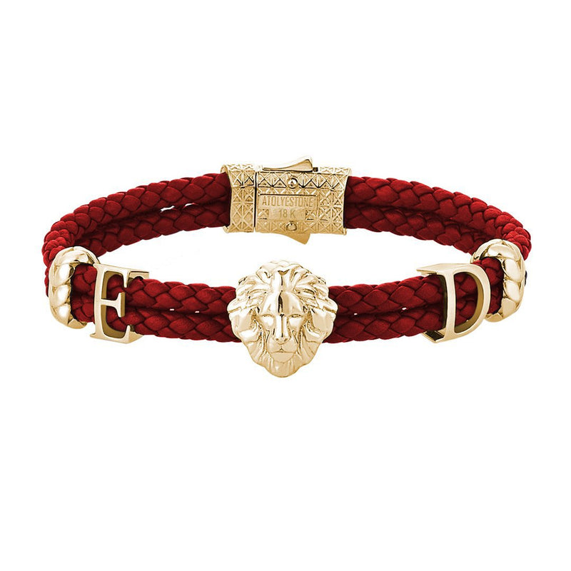 Statements Leo Leather Bracelet - Solid Gold - Red Leather