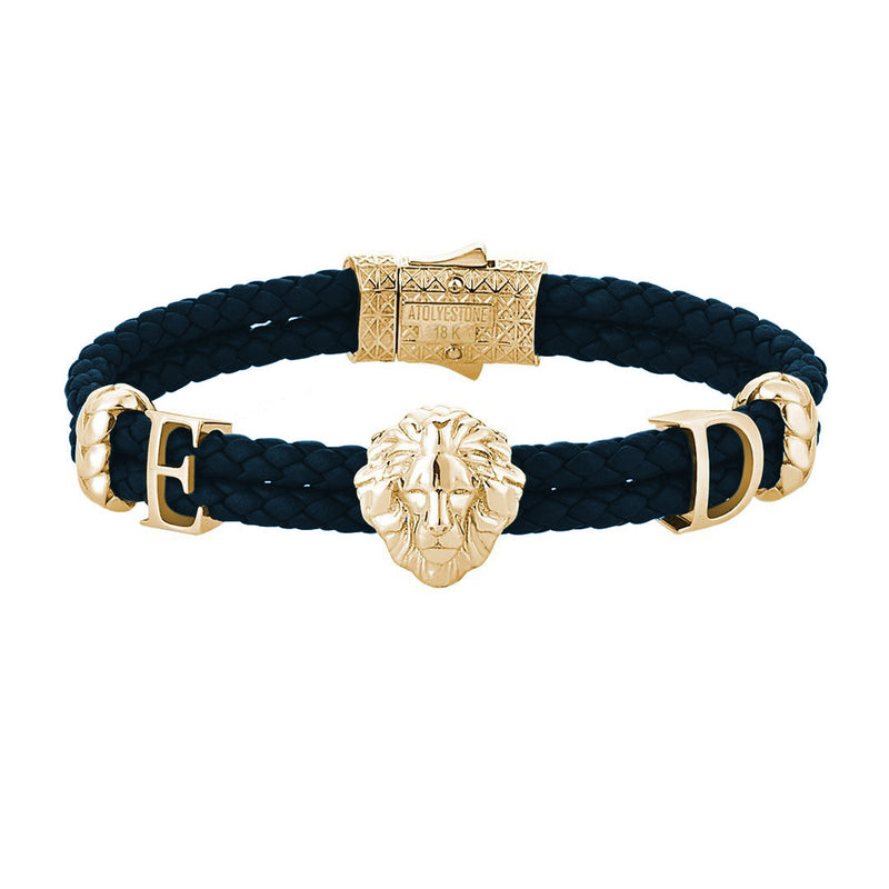Statement Leo Leather Bracelet - Solid Gold