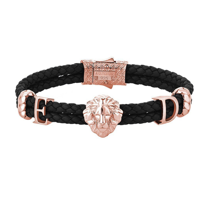 Women's Statements Leo Leather Bracelet - Rose Gold - Black Leather