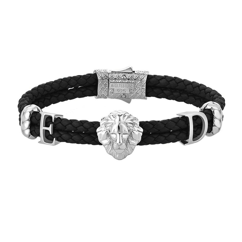 Women's Statements Leo Leather Bracelet - Silver - Black Leather