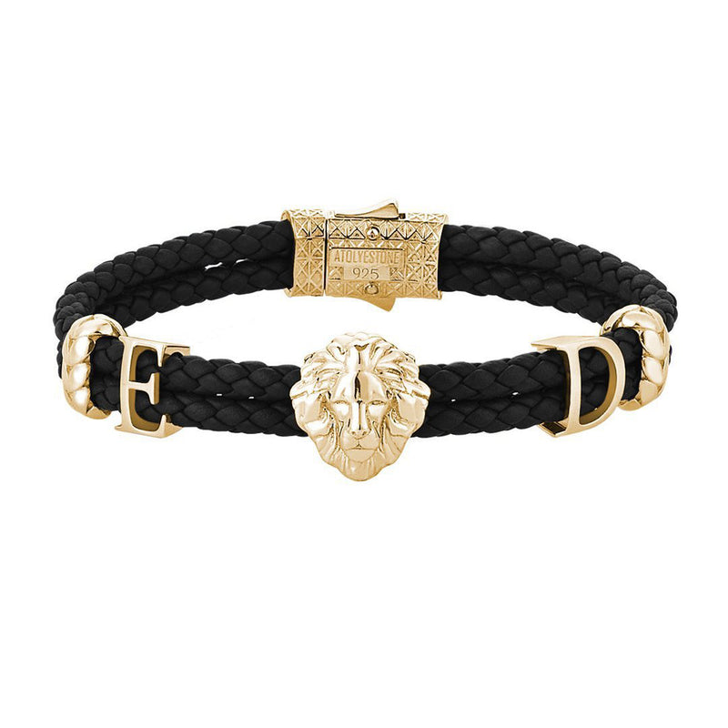 Statements Leo Leather Bracelet - Yellow Gold - Black Leather