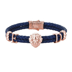 Women's Statements Leo Leather Bracelet - Rose Gold - Blue Leather