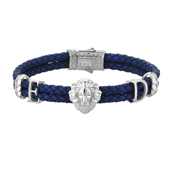 Statements Leo Leather Bracelet - Blue Leather