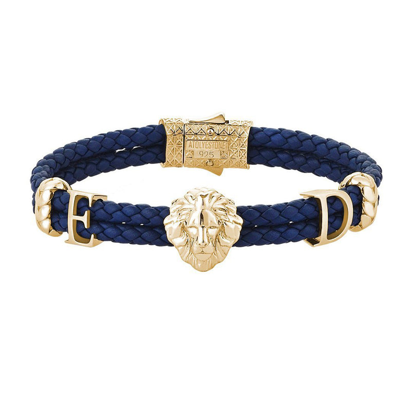 Statements Leo Leather Bracelet - Yellow Gold - Blue Leather