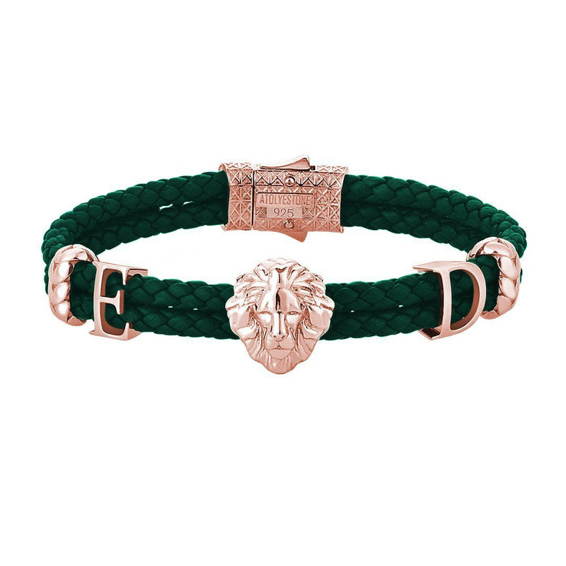 Women's Statements Leo Leather Bracelet - Rose Gold - Dark Green Leather