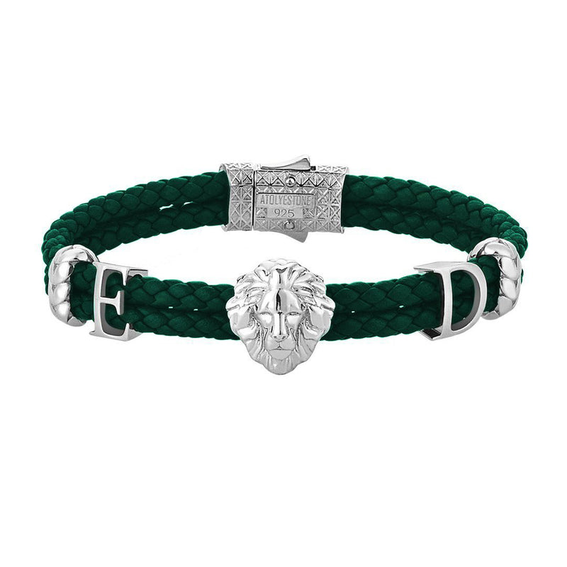 Statements Leo Leather Bracelet - Silver - Dark Green Leather
