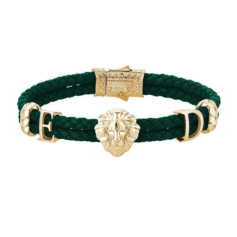 Statements Leo Leather Bracelet - Yellow Gold - Dark Green Leather
