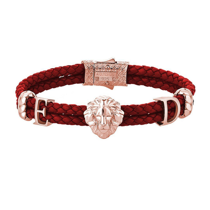 Statements Leo Leather Bracelet - Rose Gold - Dark Red Leather