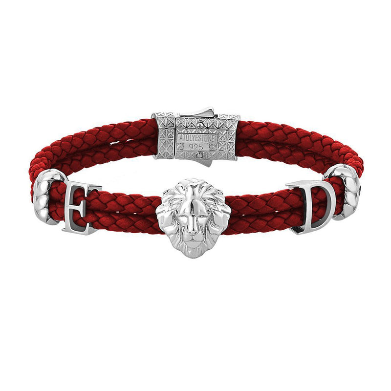 Women's Personalised Leo Leather Bracelet - Silver - Dark Red Leather