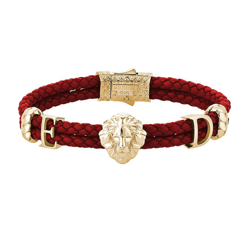 Statements Leo Leather Bracelet - Yellow Gold - Dark Red Leather