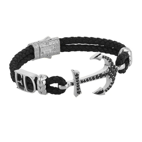 Statements Anchor Leather Bracelet - Silver - Dark Leather