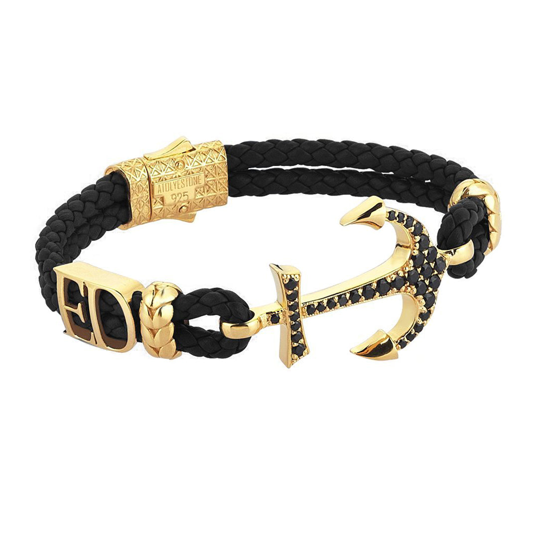 Statements Anchor Leather Bracelet - Yellow Gold - Black Leather