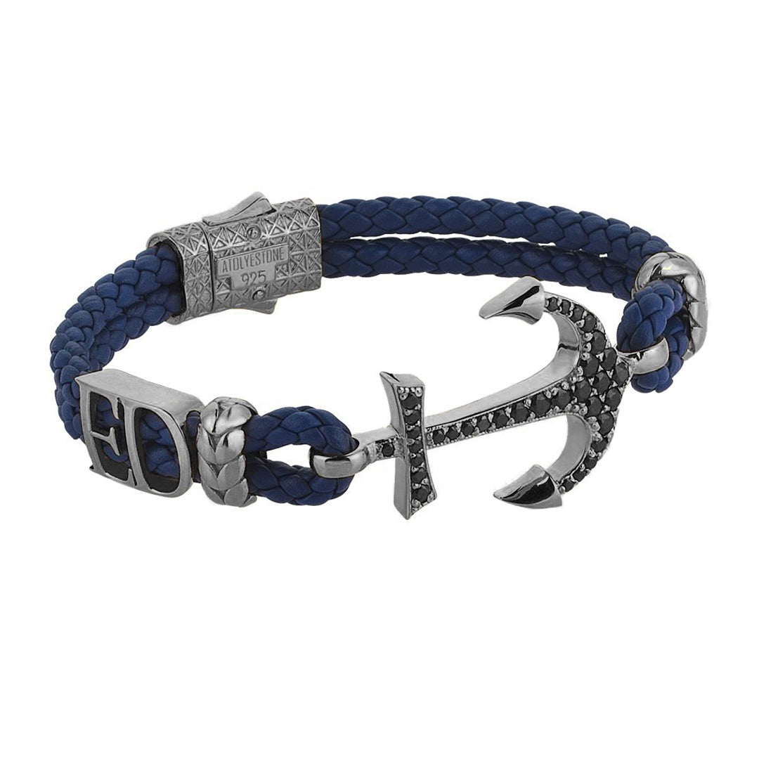 Statements Anchor Leather Bracelet - Gunmetal - Blue Leather