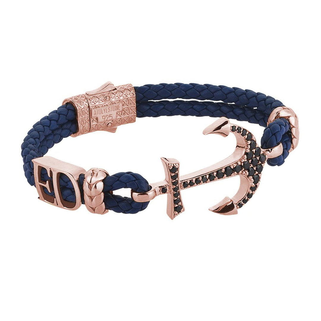 Statements Anchor Leather Bracelet - Rose Gold - Blue Leather