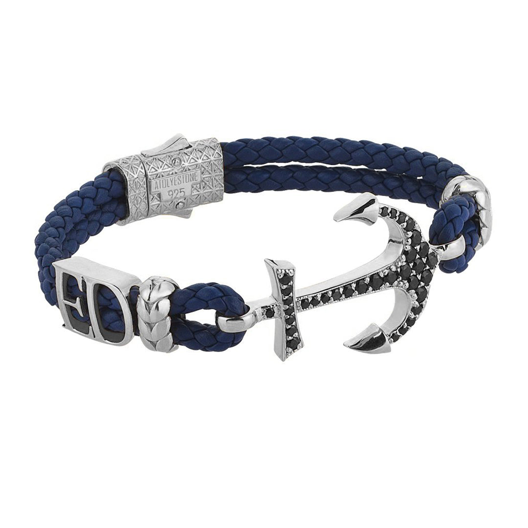 Statements Anchor Leather Bracelet - Silver - Blue Leather