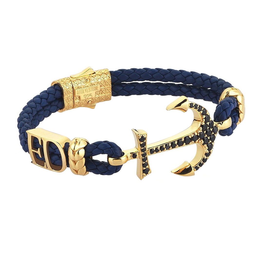 Statements Anchor Leather Bracelet - Yellow Gold - Blue Leather