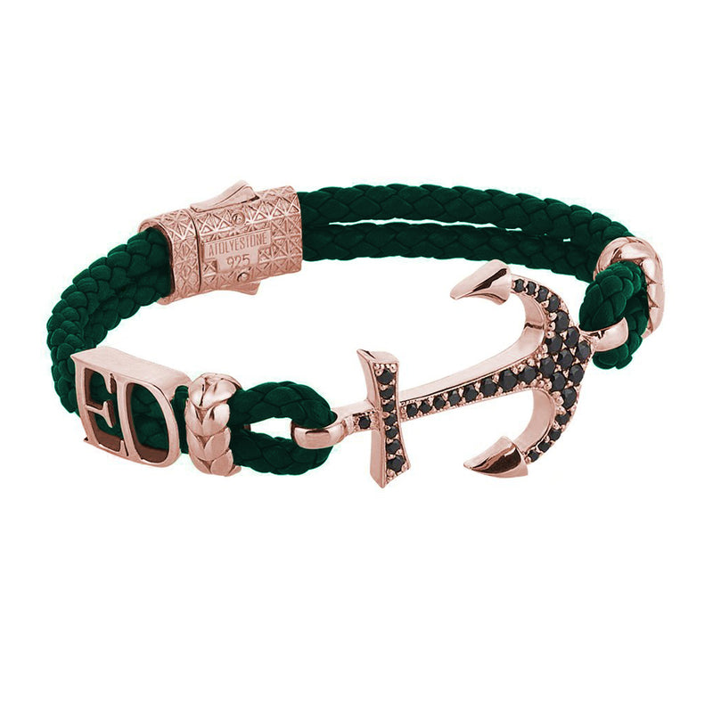 Statements Anchor Leather Bracelet - Rose Gold - Dark Green Leather