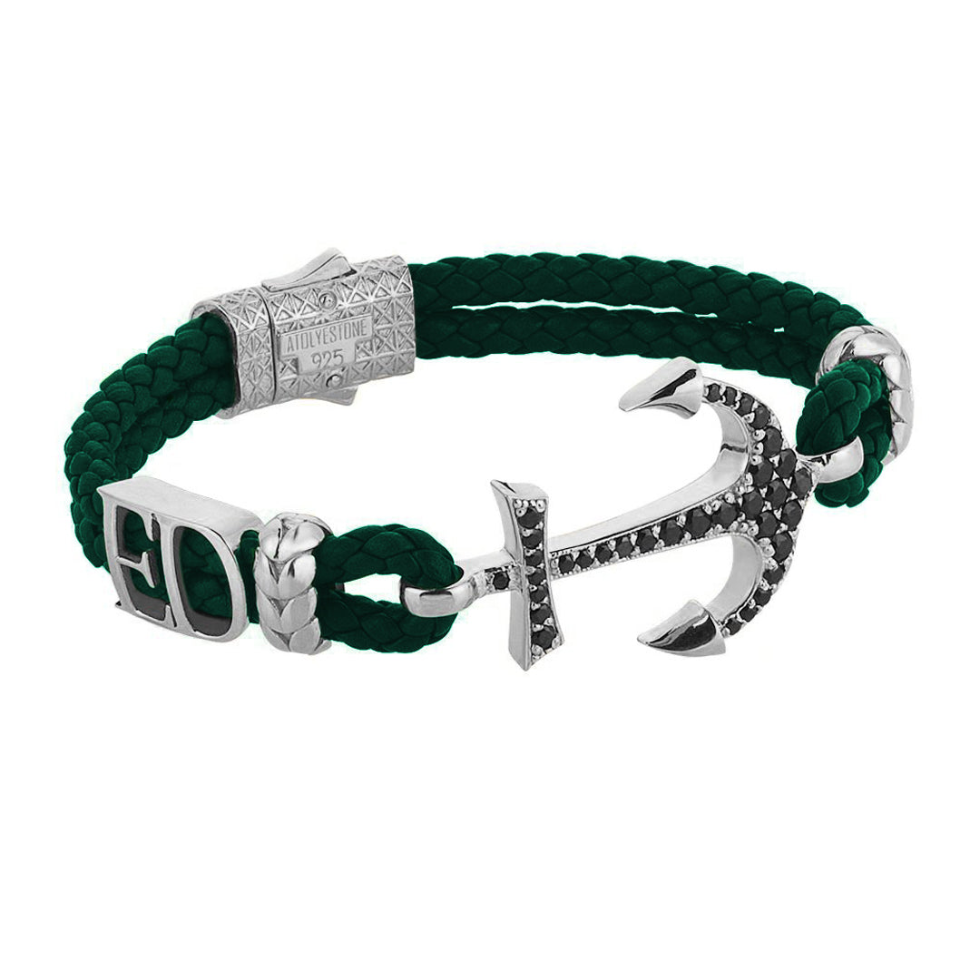 Statements Anchor Leather Bracelet - Silver - Dark Green Leather