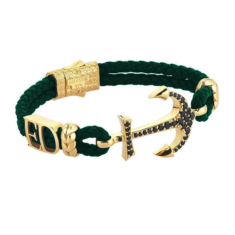 Statements Anchor Leather Bracelet - Yellow Gold - Dark Green Leather