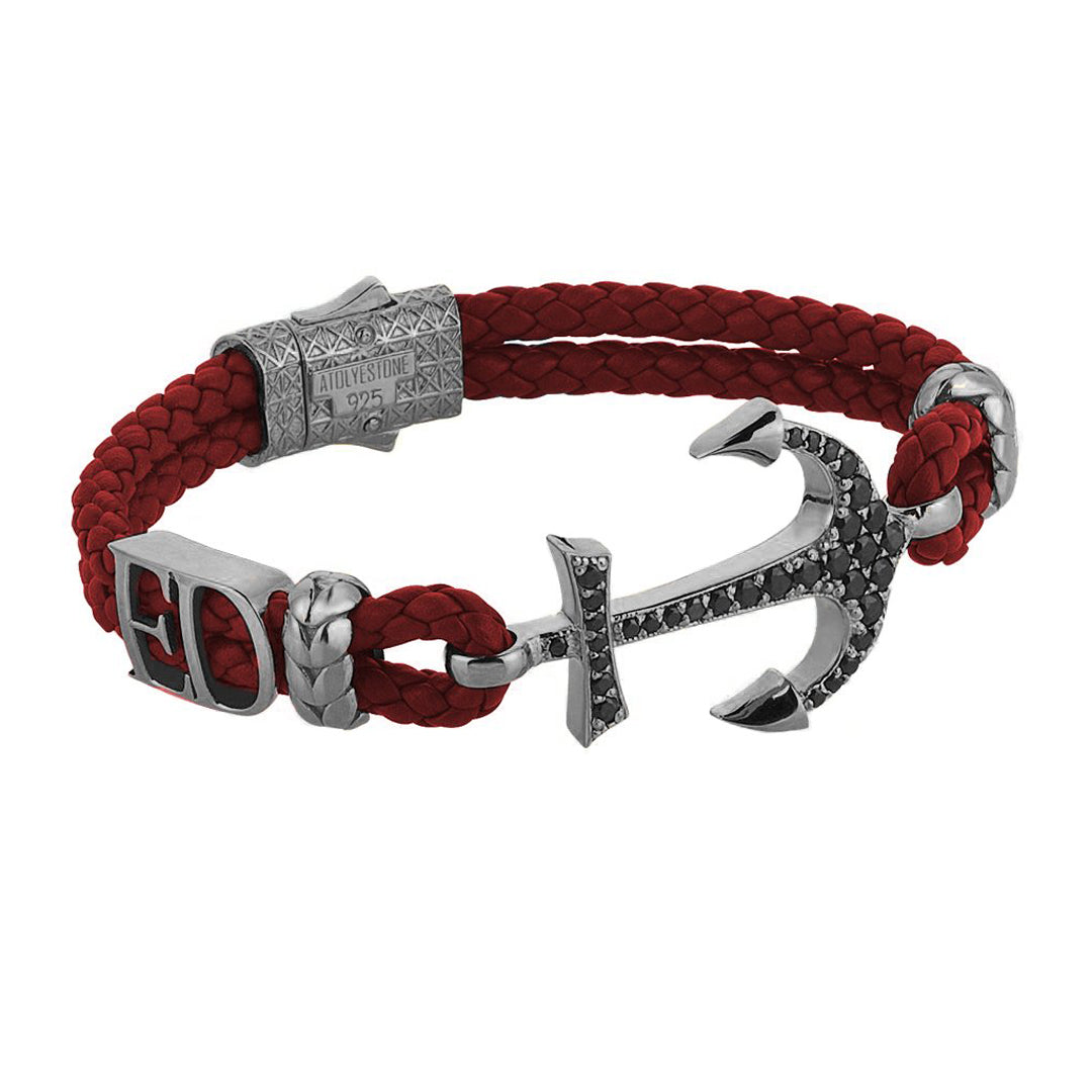 Statements Anchor Leather Bracelet - Gunmetal - Dark Red Leather
