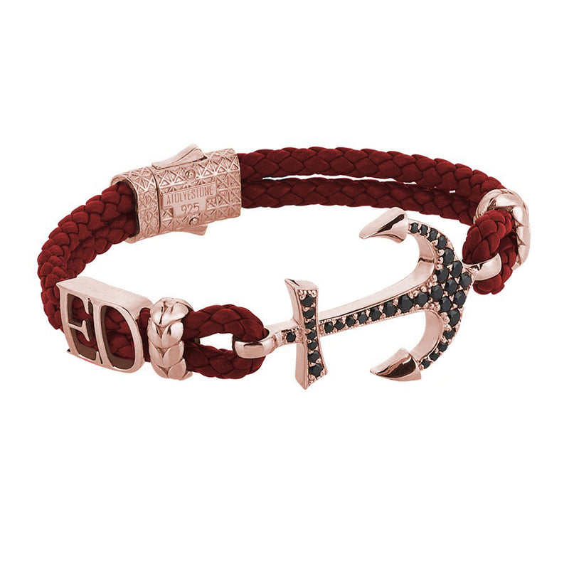 Statements Anchor Leather Bracelet - Rose Gold - Dark Red Leather