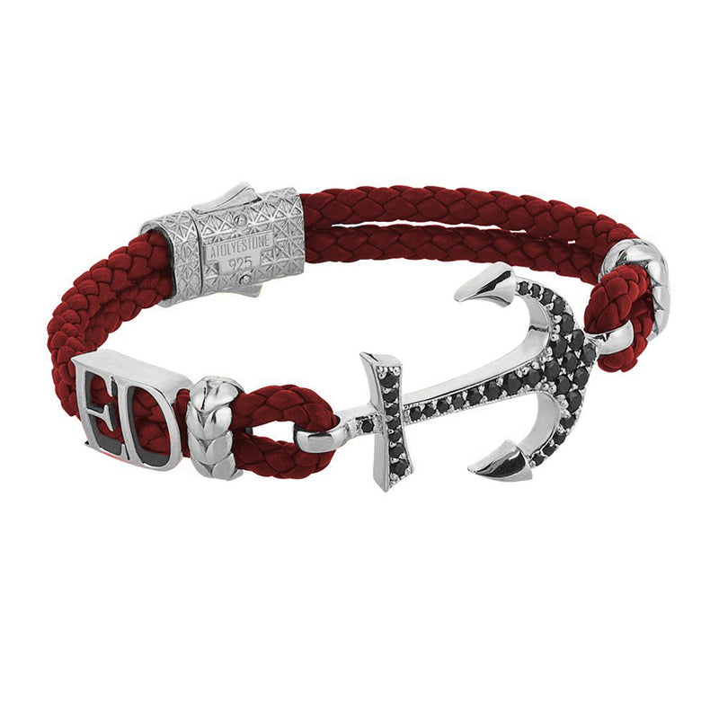 Statements Anchor Leather Bracelet - Silver - Dark Red Leather