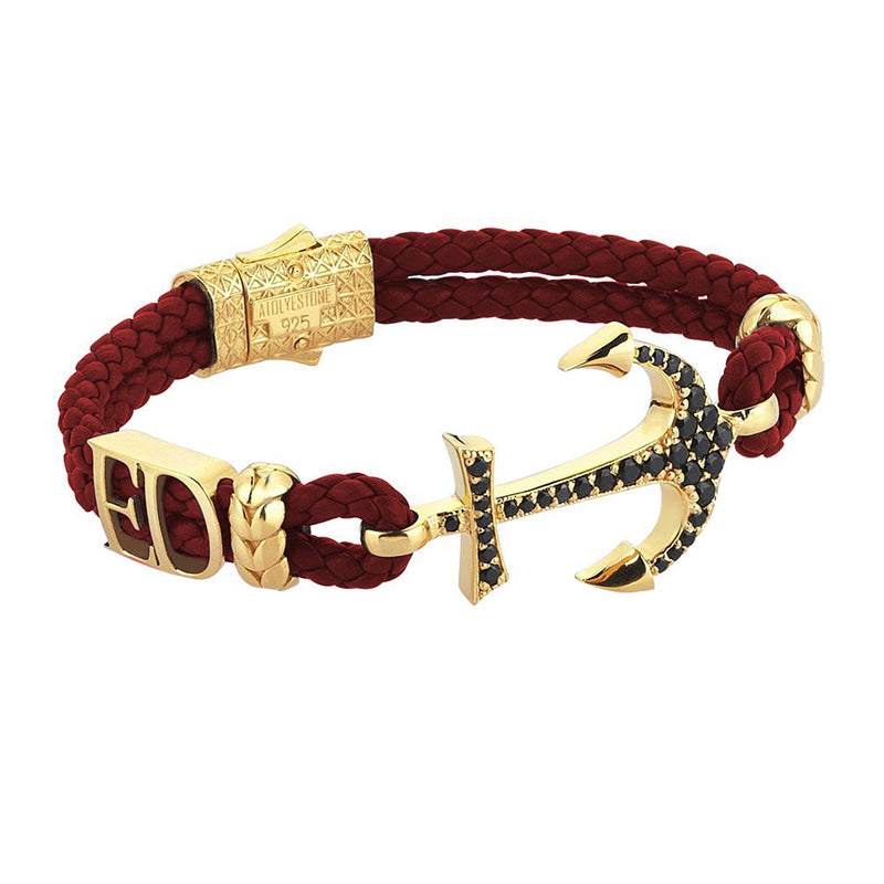 Statements Anchor Leather Bracelet - Yellow Gold - Dark Red Leather
