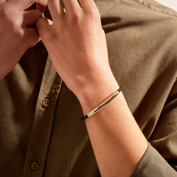 Signature Leather Bracelet - Solid Yellow Gold