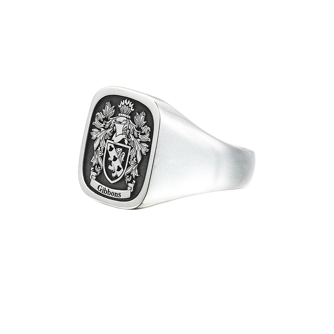 Signet Square Ring Base for Family Crest - Solid Silver