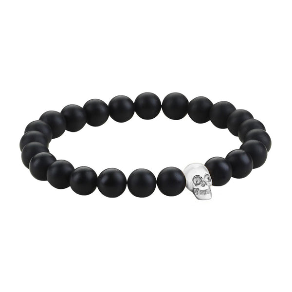 Mens Skull Beaded Bracelets - White Gold - Agate