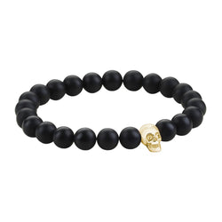Mens Skull Beaded Bracelets - Yellow Gold - Agate