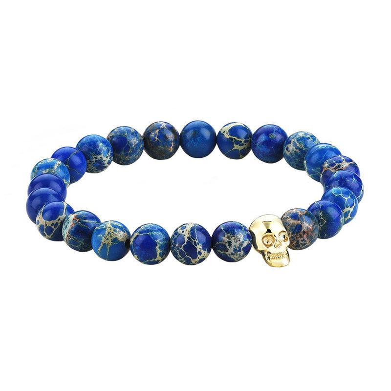 Mens Skull Beaded Bracelet - Yellow Gold - Blue Jasper