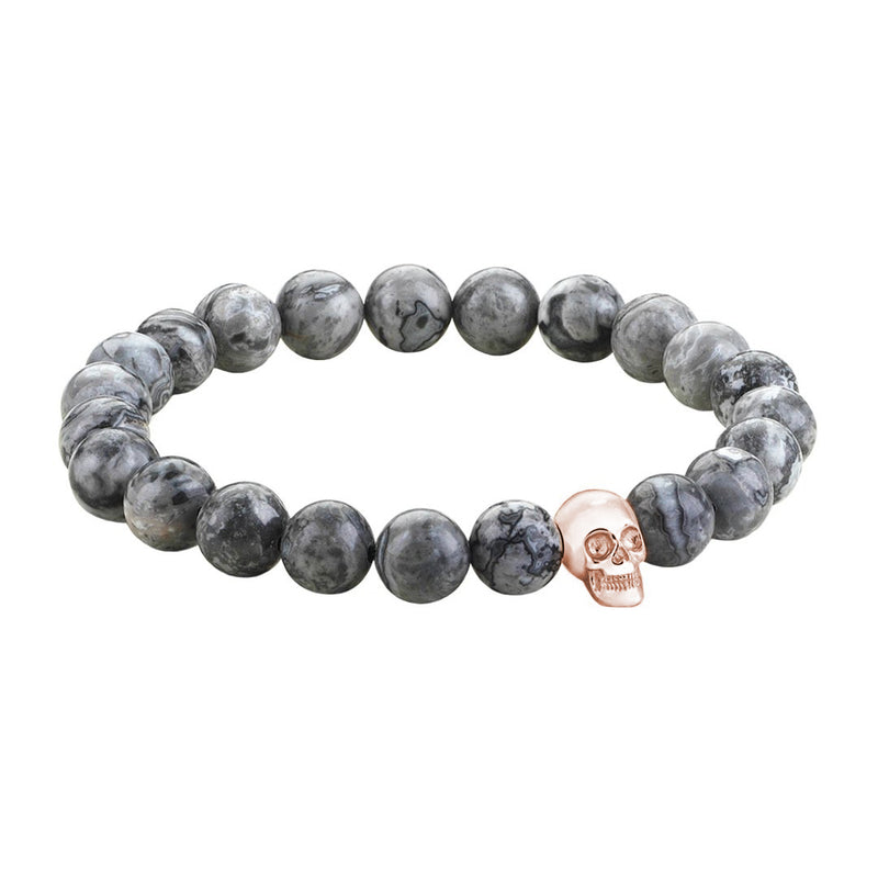 Mens Skull Beaded Bracelets - Rose Gold - Grey Jasper