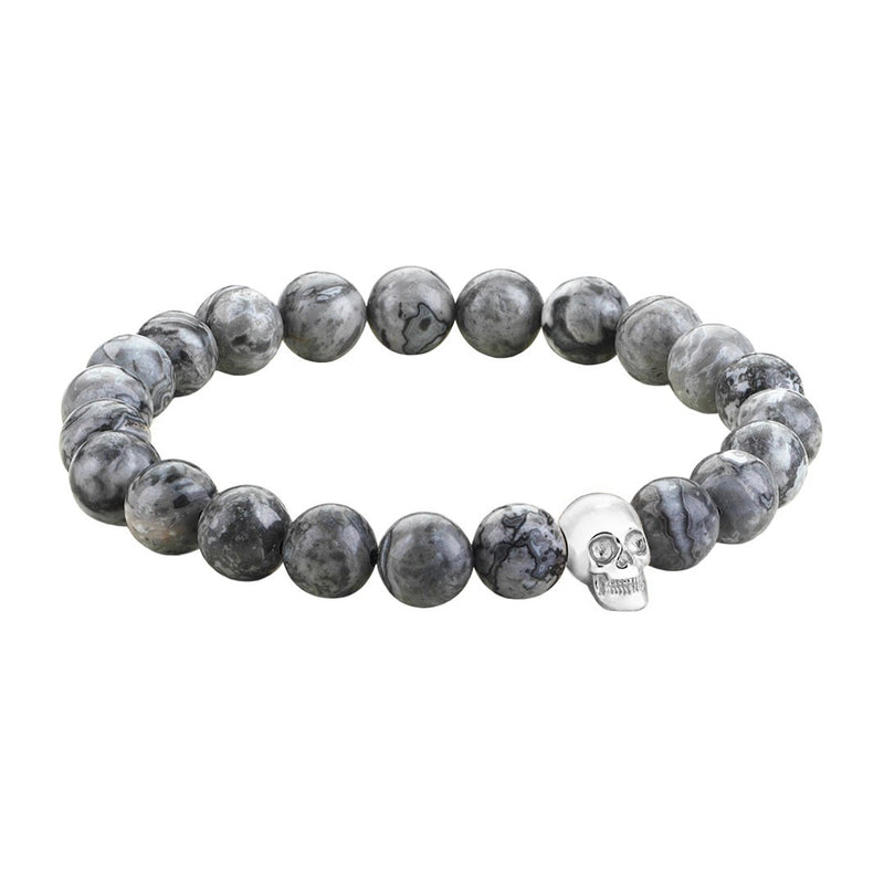 Mens Skull Beaded Bracelets - White Gold - Grey Jasper