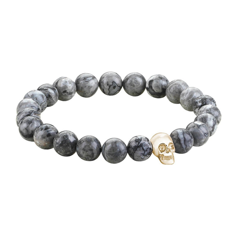 Mens Skull Beaded Bracelets - Yellow Gold - Grey Jasper