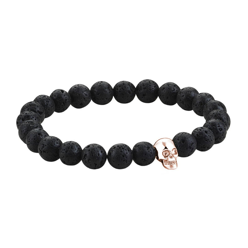 Mens Skull Beaded Bracelets - Rose Gold - Lavastone