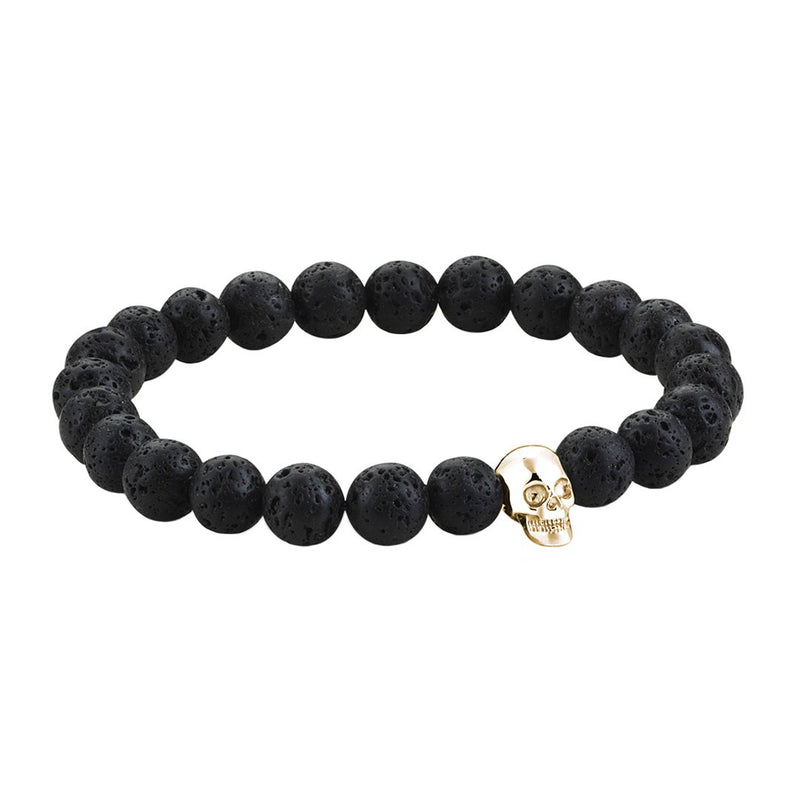 Mens Skull Beaded Bracelets - Yellow Gold - Lavastone