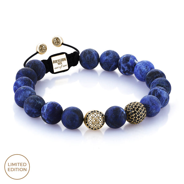 Sodalite Beaded Macrame Bracelet - Yellow Gold
